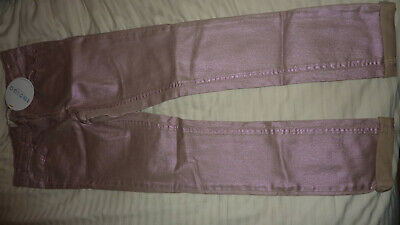 Marks & Spencer M&S Indigo Metallic Pink Sparkly Jeans Party Rose Gold 12-13 New