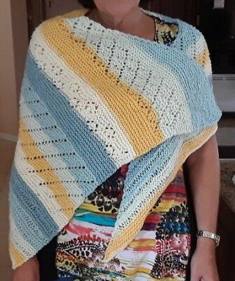 Triangle Shawl wrap blue dark yellow Ivory Acrylic Hand Knitted in USA NWOT j177