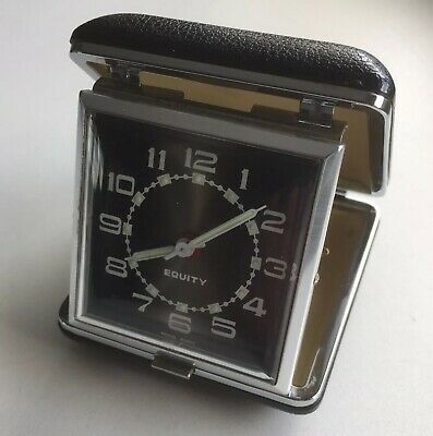 Vintage 1960's Equity Fold Up Travel Alarm Clock Black Case, Nice Condition