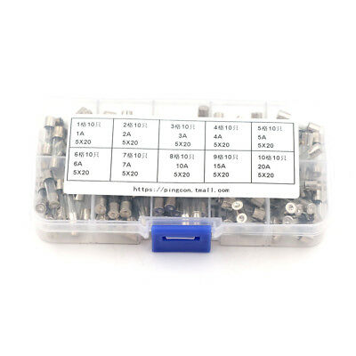 10pcs Glass Tube Fuse Axial Leads 3.6*10mm 1A Slow Blow NMCATOCA