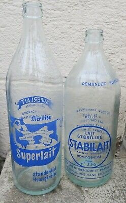 2 Bouteille lait SUPERLAIT STABILAIT CACOLAC milk bottle