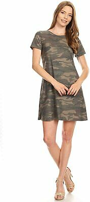 Women's Solid Casual Button Trim A-Line Loose Comfy Soft Midi Classic Short Slee