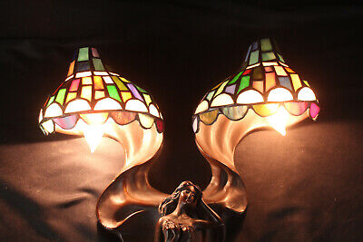 Flying Lady Brass Tiffany Style Art Nouveau Wall Sconce Lamp Stained Glass Shade