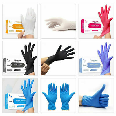 100 Gloves Black Blue Purple Nitrile Disposable Latex Free Tattoo Medical Violet