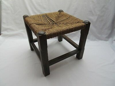 Vintage old wooden footstool with woven seat  good repair refurb project