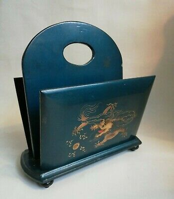 Vintage 50s Blue Lacquered Wood Gilt Chinese Dragon Letter Stationary Rack