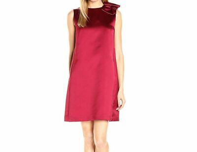Tahari By ASL Womens Dress Deep Red Size 2 Shift Bow Detail Satin $134 Cranberry