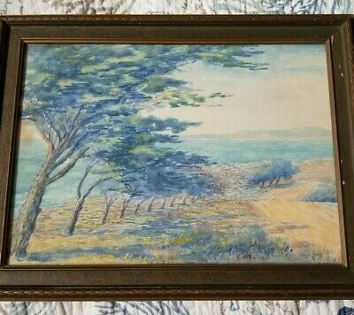 J.T. Oleson 1927 Plein Air Watercolor - framed and signed with date