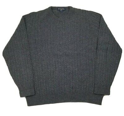Brooks Brothers Saxxon Mens L Gray Crewneck Cable Knit 100% Wool Sweater Italy