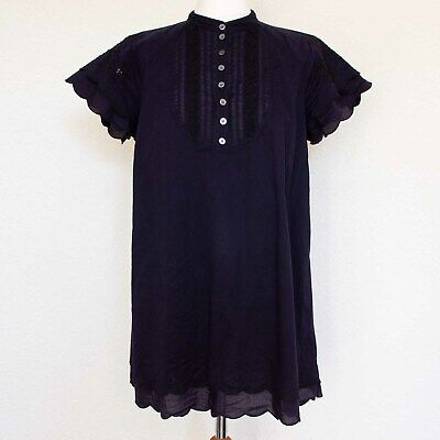 GHOST Navy Blue Black Lace Scallop Edge Embroidered Beaded High Neck Top UK14