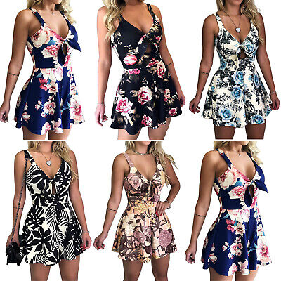Womens Floral Mini Playsuit Jumpsuit Romper Holiday Summer Casual Shorts Dress