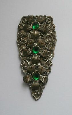 BN Vintage 1930's Art Deco Silver Metal Dress Clip Set w/ Green Stones Deadstock