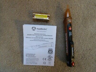 New Southwire Tools & Equipment 40126N NCV Dual Range Pen Type Detector with Fla