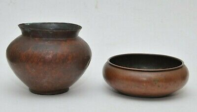 2 ANTIQUE ARTS & CRAFTS COPPER BOWLS or PLANTERS VASE REVERE CO ROME NY