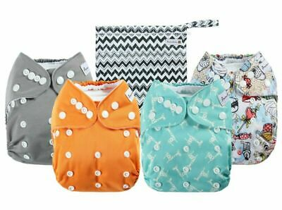 Anmababy 4 Pack Adjustable Size Waterproof Washable Pocket Cloth Diapers with 4