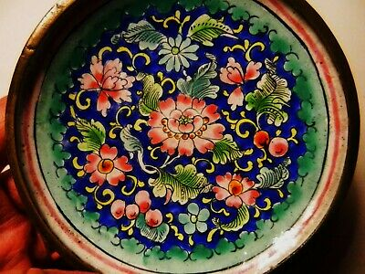 Antique Chinese Hand Painted Enamel on Copper Pink Flowers -PIN or Trinket DISH