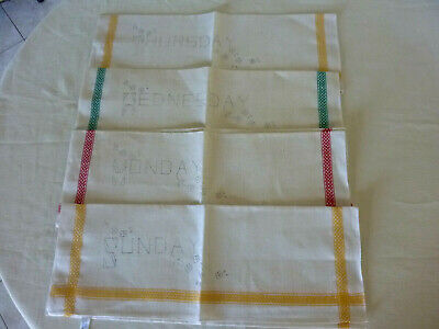 Four Linen Tea Towels To Embroider  Unworked Beautiful Days Of The Week