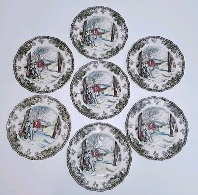"(7) Johnson Bros Friendly Village Sugar Maples 6"" Bread & Butter Plates England"