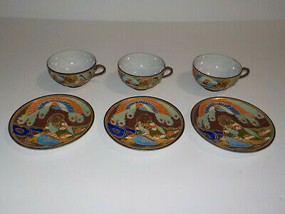 3 Vintage  SATSUMA Moriage Gilded JAPANESE IMMORTALS Cups And Saucers