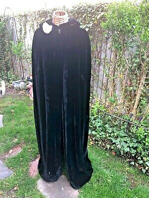 Antiqe Velvet Black Cape  Long Length Lined w Collar One Button