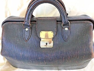 Antique Doctors Travel Bag Leather Latch and Leather Lined