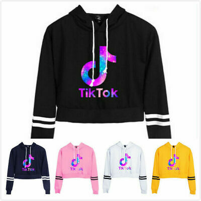 Womens Girls Tik Tok Cropped Hoodie Sweatshirt Long Sleeve Jumper Coat Hoody Top