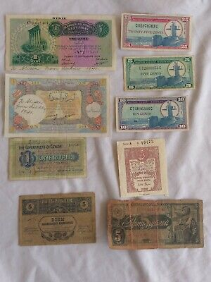 WW2 era Military bank notes. Syria, USA, Ceylon, Russia.1 autographed by diggers