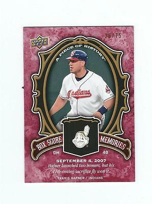 2009 UD Piece History Box Score Memories Red #BSMTH Travis Hafner INDIANS 26/75