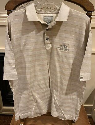 Mens The Breakers Palm Beach Size Large L Striped Golf Polo Shirt Cutter & Buck