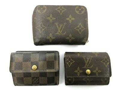 Authentic 3 Item Set LOUIS VUITTON Monogram Damier Coin Purse 82997