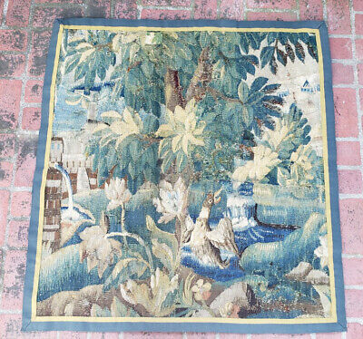 An Almost Square 18th Century Verdure Tapestry with Duck & Fountain