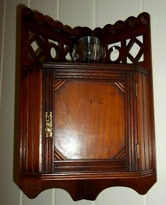 Antique Corner Smoking Cabinet with match holder , circa early 1900's