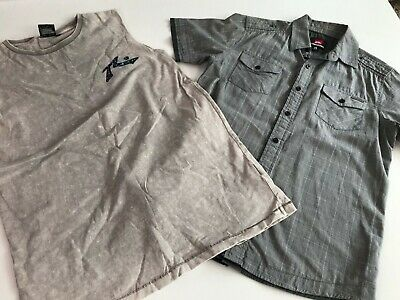 Boys size 14 Quiksilver t-shirt and Rusty singlet