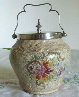 Antique  Ceramic Biscuit Caddy Floral Silver Plated Lid