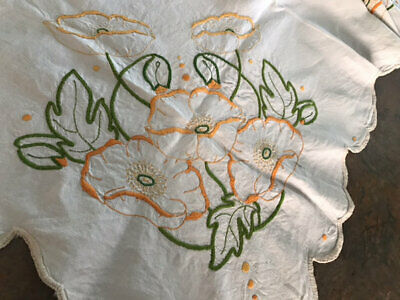 Vintage Linen Hand Embroidered Poppy Cloth.gorgeous.