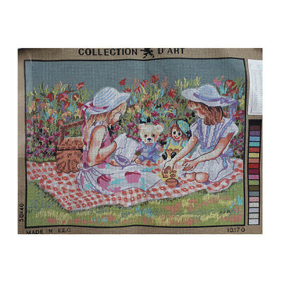 Collection D'Art Printed Tapestry Needlepoint TEDDY BEARS PICNIC 30x40cm