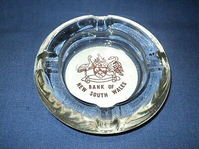 Vintage Glass Bank of New South Wales Advertising Ashtray with Logo