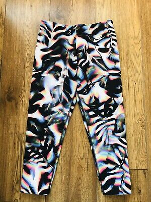nike Multicoloured leggings sz m girls 10 yrs Psychedelic Just Do It 3/4 Cropped