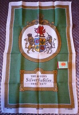 Tea Towel of Queens Silver Jubilee. Vintage. Gift Soap from Buckingham Palace.