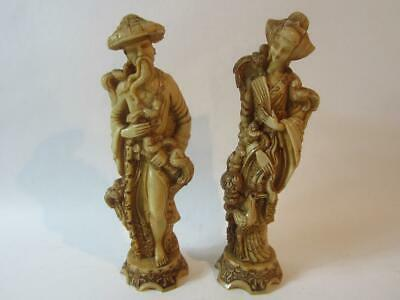 A Gorgeous Pair of Vintage Chinese Wooden/Resin Carved Figurines/Statues