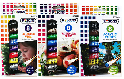 8 x ACRYLIC PAINT HIGH QUALITY 6ML Assorted Colour Tubes Artist Arts Crafts Set