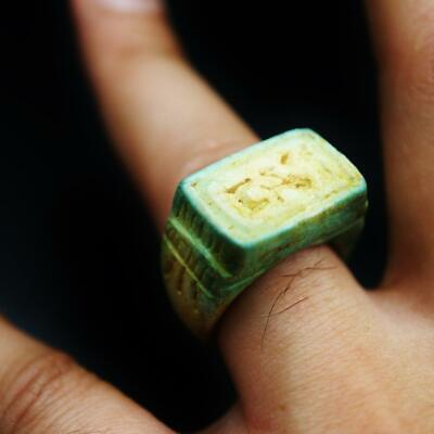 Rare Antique Stone Cartouche Ring Amulet of Ancient Egyptian