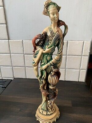 VINTAGE CHINESE GEISHA LADY STATUE FIGURINE IVORY EFFECT Coloured HARD RESIN