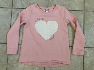 Kids Girls Carter's Pink Pull Over Sweatshirt With White Fleece Heart Size 8