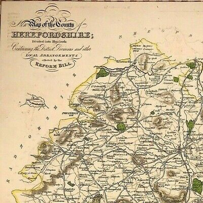 Map of HEREFORDSHIRE towns, gentleman houses election poll reform bill c1833
