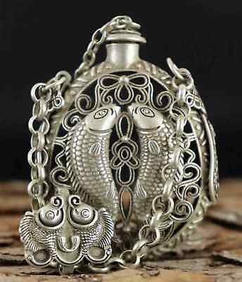 Collect Old Tibet Silver Hand-Carved Hollow Out Pair Fish Delicate Snuff Bottle
