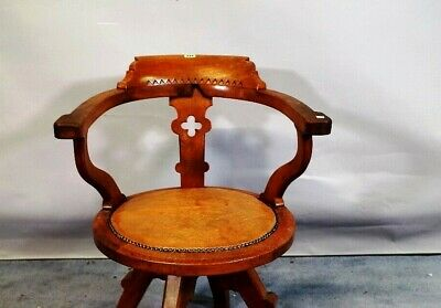 Shoolbred & Co oak office armchair chair leather antique 1920 captains revolving