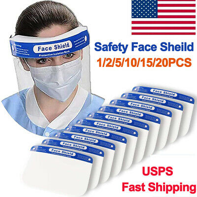 Safety Anti-Fog Full Face Shield Clear Transparent For Work Dental Lab US Ship