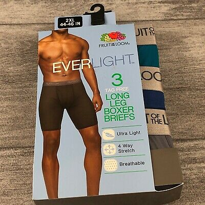 Fruit Of The Loom Everlight Long 3 tag free long Leg Boxer Briefs Multicolor 2XL