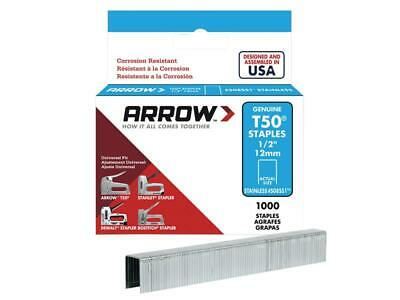 Arrow ARRT5012SS T50 Staples Stainless Steel 508SS 12mm (1/2in) Box 1000